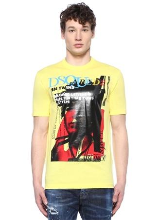Sarı Bisiklet Yaka Baskılı Logolu T-shirt