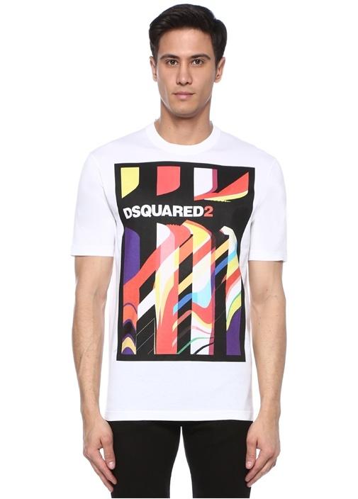 Beyaz Bisiklet Yaka Karışık Desenli Logolu T-shirt