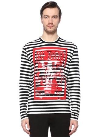 Dsquared2 Erkek Bisiklet Yaka Çizgili Logolu Uzun Kollu-shirt Siyah XXL Ürün Resmi