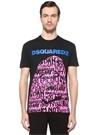 Siyah Bisiklet Yaka Baskılı Logolu T-shirt