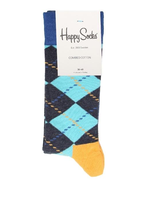 Lacivert Baklava Desenli Kadın Çorap