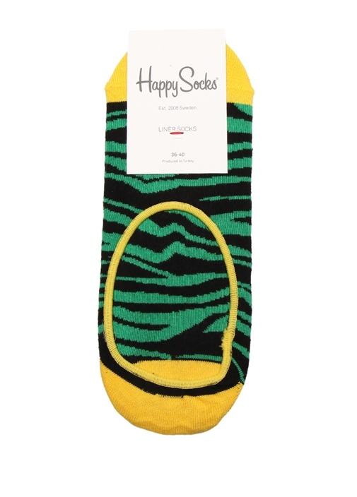 Yeşil Siyah Zebra Desenli Kadın Çorap