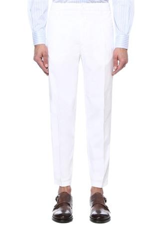 Drop 8 Beyaz Normal Bel Boru Paça Pantolon