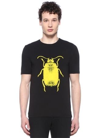 Siyah Bisiklet Yaka Sarı Böcek Baskılı T-shirt