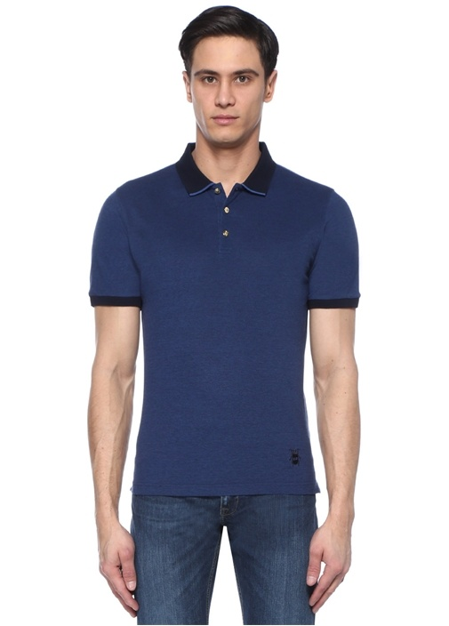 Lacivert Polo Yaka Düğme Detaylı T-shirt