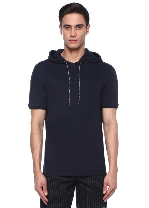 Lacivert Kapüşonlu Pike Dokulu T-shirt