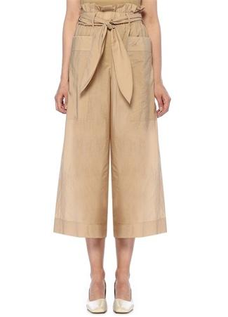 Nanushka Kadın Ines Bej Yüksek Bel Kuşaklı Bol Crop Pantolon Kahverengi S EU