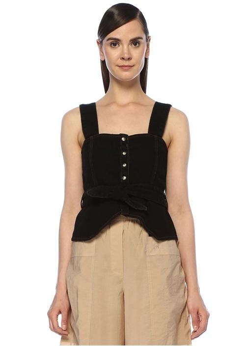 Nanushka Kaiko Siyah Kare Yaka Bağcıklı Denim Bluz – 1505.0 TL