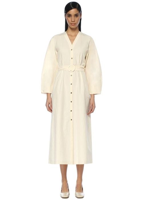 Nanushka Femme Bej Kemer Detaylı Midi Elbise – 2949.0 TL