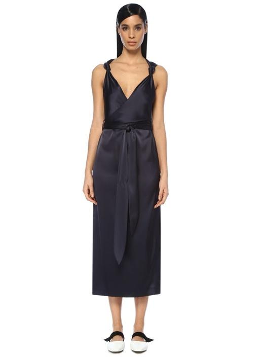Nanushka Shanti Lacivert Çift Yırtmaçlı Saten Midi Elbise – 4449.0 TL