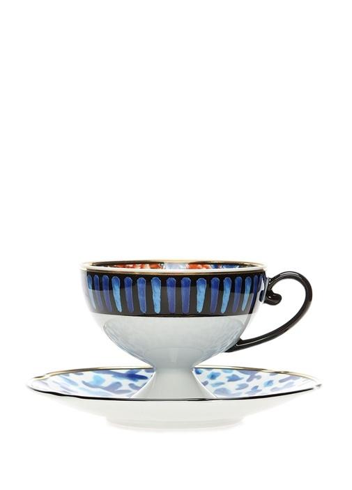 Cannareigo Mavi Baskılı Porselen Çay Fincan Takımı