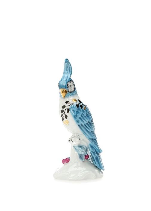 Primavera Mavi Papağan Formlu Porselen Mumluk