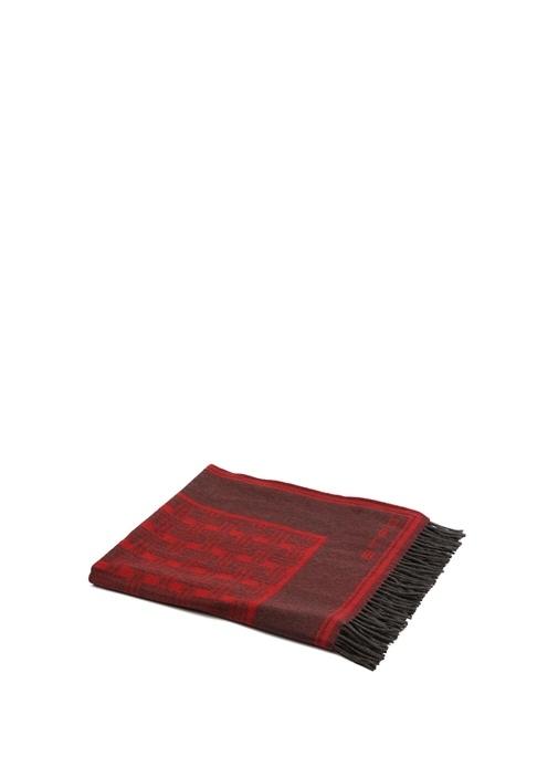 Kırmızı Püsküllü Desenli Kaşmir Throw