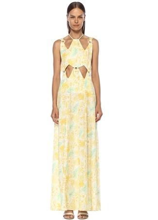 Cult Gaia Kadın Sabine Baskılı Dekolte Detaylı Keten Maxi Elbise Sarı XS EU