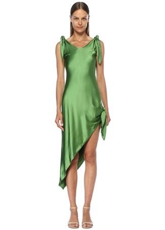 Cult Gaia Kadın Dehlila Yeşil Asimetrik Kesim Saten Mini Elbise S EU