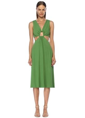 Cult Gaia Kadın Cybele Yeşil Dekolteli Halka Detaylı Midi Elbise M EU