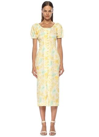 Cult Gaia Kadın Charlotte Sarı Yaprak Baskılı Keten Midi Elbise XS EU