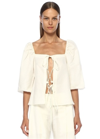 Cult Gaia Kadın Aurel Beyaz Bağcık Detaylı Keten Bluz S EU