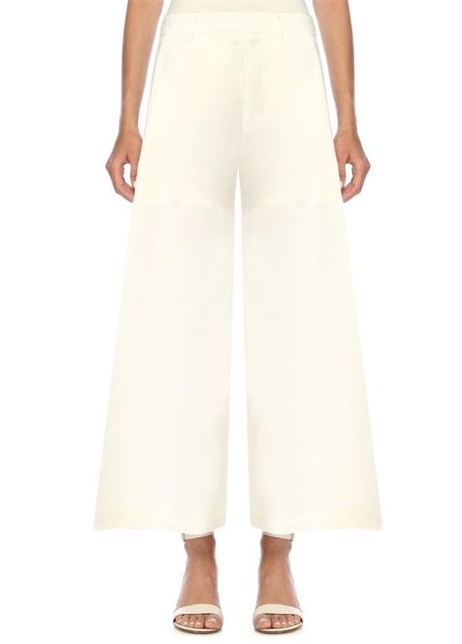 Maia Beyaz Yüksek Bel Keten Pantolon
