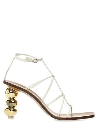 Pietra Beyaz Topuk Detaylı Kadın Deri Sandalet