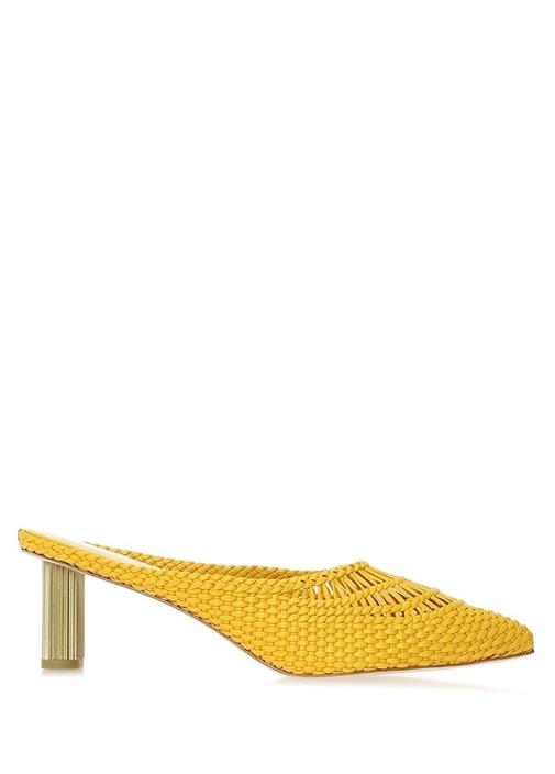 Della Sarı Topuk Detaylı Kadın Deri Terlik