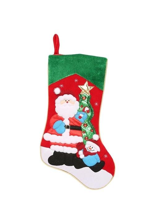 Çorap Formlu Noel Baba Figürlü Yılbaşı Süsü