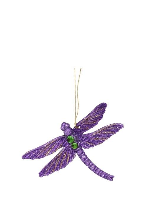Mor Kelebek Formlu Simli Yılbaşı Süsü