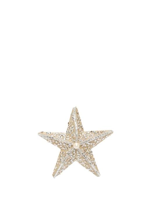 Gold Yıldız Formlu Pullu Yılbaşı Süsü