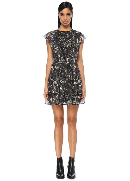 Evely Lisk Siyah Çiçekli Beli Kuşaklı Mini Elbise