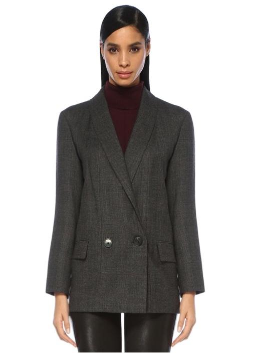 Harriet Antrasit Şal Yaka Ekoseli Yün Blazer Ceket