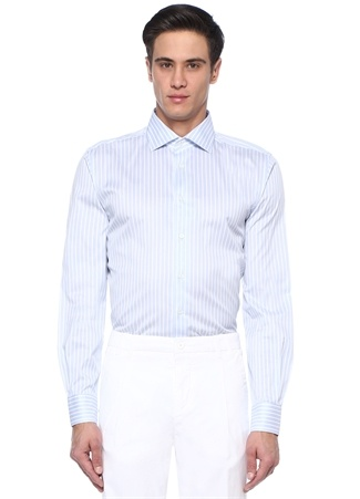Drop 2 Comfort Fit Mavi Beyaz Çizgili Gömlek