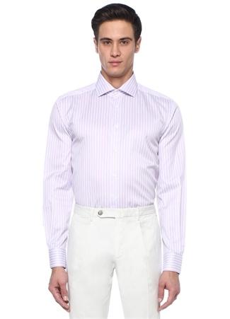 Drop 2 Comfort Fit Mor Beyaz Çizgili Gömlek