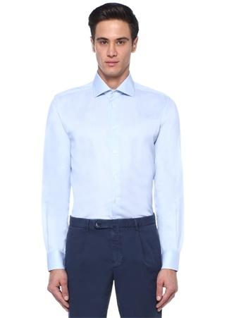 Mavi İngiliz Yaka Mikro Desenli Gömlek