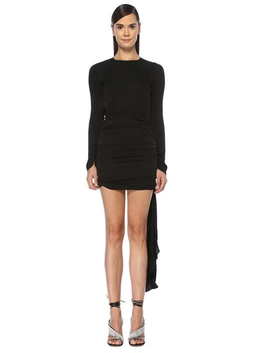 Siyah Drapeli Sırt Detaylı Uzun Kol Mini Elbise