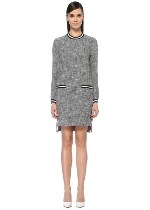 Thom Browne Lacivert Şeritli Uzun Kol Midi Tweed Elbise – 9765.0 TL