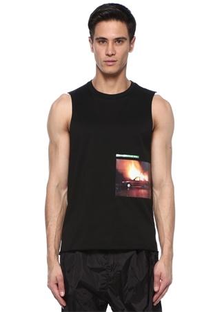 Mert Marcus 1994 Siyah Baskılı Kolsuz Basic Tshirt