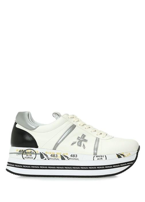 Beth 3871 Beyaz Logolu Kadın Deri Sneaker