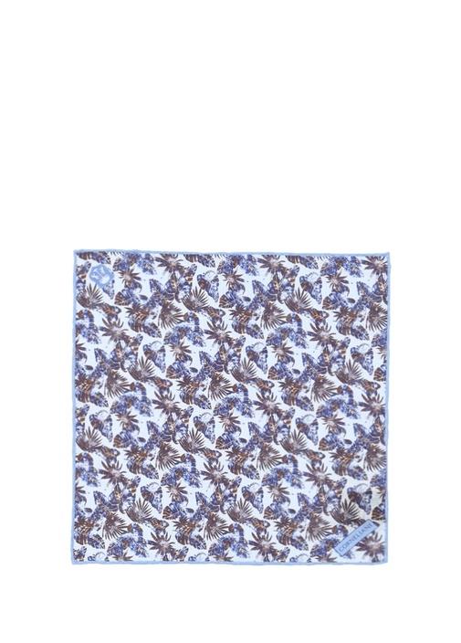 Mavi Kahverengi Yaprak Desenli Keten Poşet Mendil