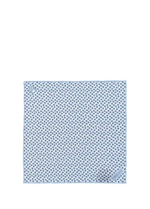 Mavi Mikro Desenli Keten Poşet Mendil
