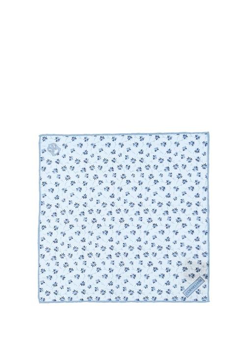 Mavi Çiçek Desenli Keten Poşet Mendil