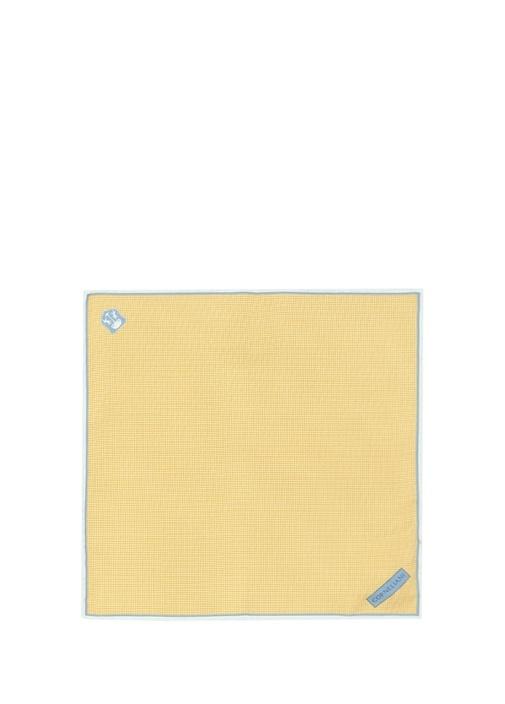 Sarı Mikro Kareli İpek Poşet Mendil