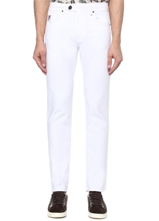Beyaz Normal Bel Boru Paça Jean Pantolon