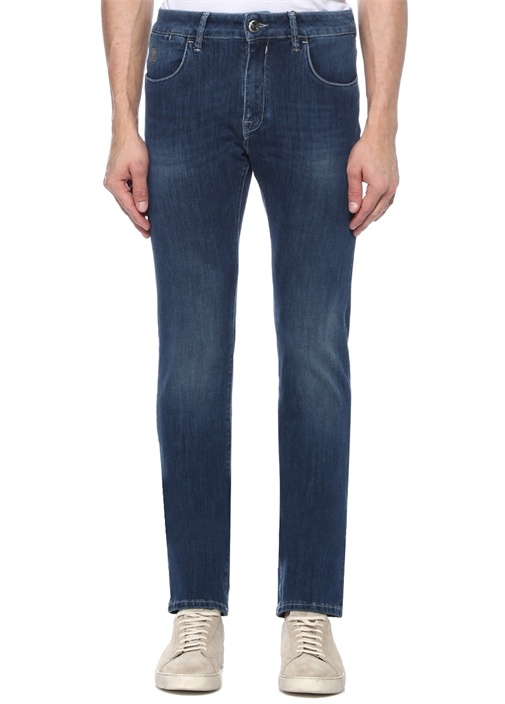 Mavi Normal Bel Kontrast Dikişli Jean Pantolon