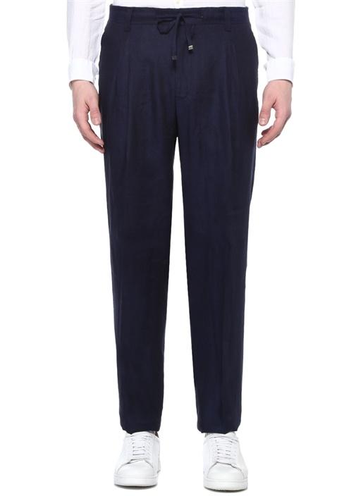Drop 6 Lacivert Pileli Keten Pantolon
