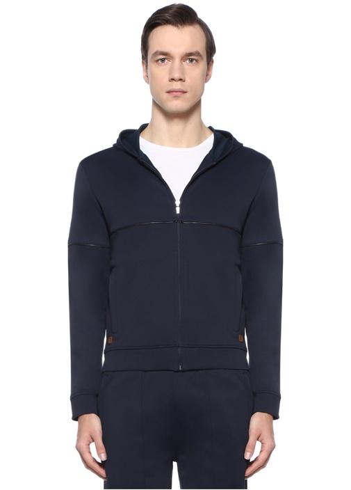 Lacivert Kapüşonlu Biye Detaylı Sweatshirt