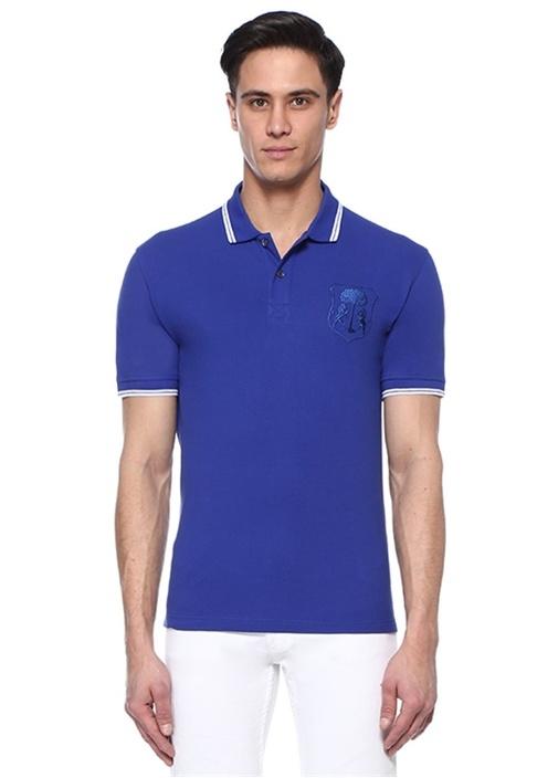 Lacivert Nakış Detaylı Dokulu Polo YakaT-shirt