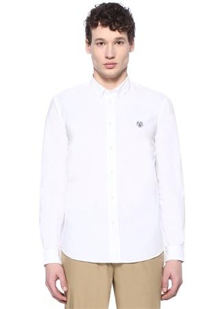 Casual Fit Beyaz Logolu Düğmeli Yaka Gömlek