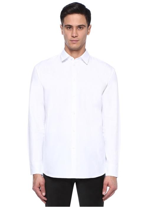 Beyaz Modern Yaka Zebra Desen Logolu Gömlek