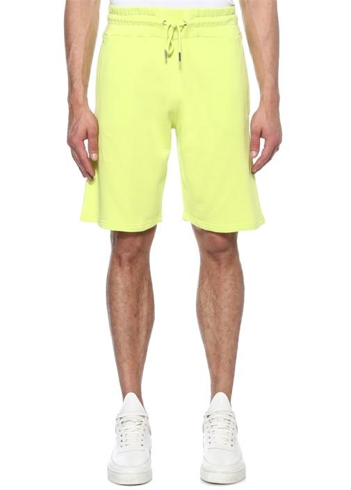 Neon Sarı Logo Baskılı Şort