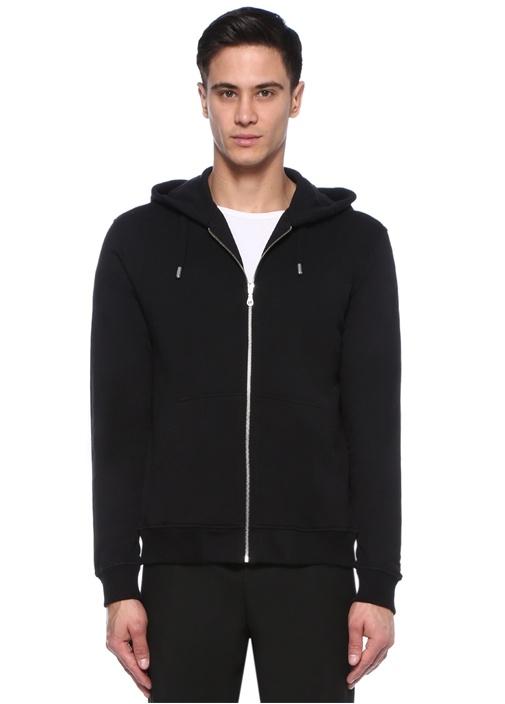 Siyah Beyaz Kapüşonlu Logo Baskılı Sweatshirt